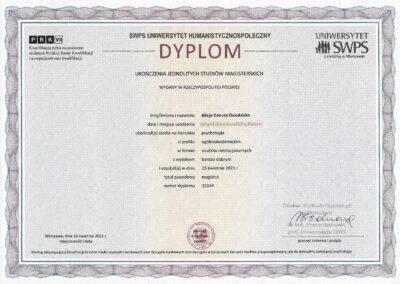 Dyplom psychologa